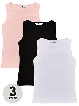 V by Very V By Very Girls 3 Pack Rib Vests - Multi Picture