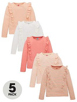 V by Very V By Very Girls 5 Pack Long Sleeve Ruffle Tops - Multi Picture