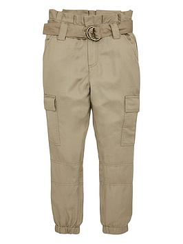 V by Very V By Very Girls Utility Paperbag Waist Trousers - Khaki