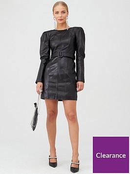 river-island-river-island-leather-puff-shoulder-dress-black