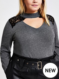 ri-plus-ri-plus-lace-choker-neck-knitted-jumper--charcoal