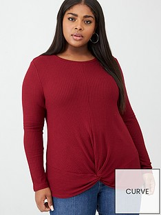 v-by-very-curve-twist-front-long-sleeve-top-red