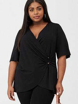 V by Very Curve V By Very Curve Jersey Wrap Ring Tunic - Black Picture