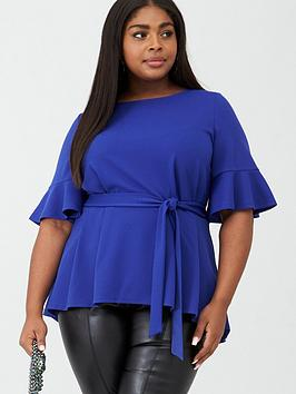 V by Very Curve V By Very Curve Stretch Belted Top - Bright Blue Picture