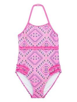 V by Very V By Very Girls Neon Aztec Swimsuit - Multi Picture