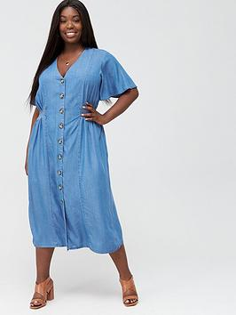 V by Very Curve V By Very Curve Denim Midi Dress - Light Wash Picture