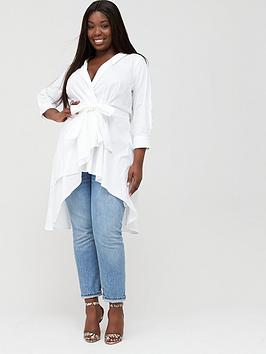 V by Very Curve V By Very Curve Dipped Hem Cotton Shirt - White Picture