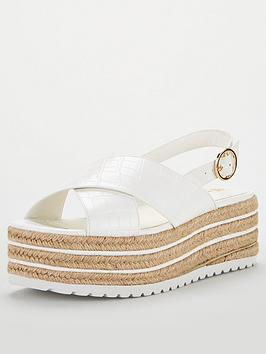 V by Very V By Very Delfina Wide Fit Sling Back Wedge - White Picture