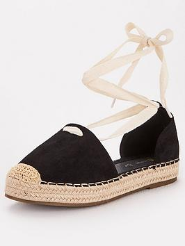 V by Very V By Very Magna Wide Fit Two Part Tie Leg Espadrille - Black Picture