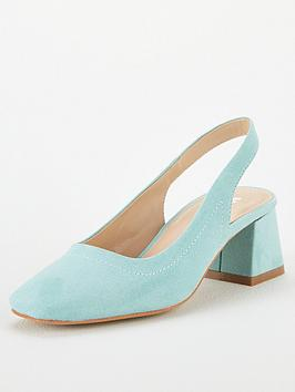 V by Very V By Very Dana Square Toe Block Heel Slingback - Mint Picture