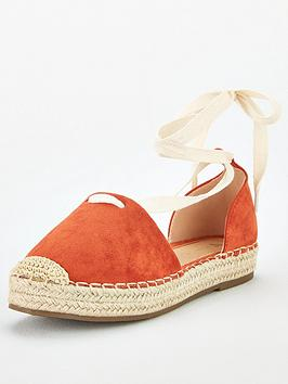 V by Very V By Very Magna Wide Fit Two Part Tie Leg Espadrille - Orange