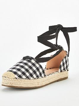 V by Very V By Very Magna Two Part Tie Leg Espadrille - Black Picture