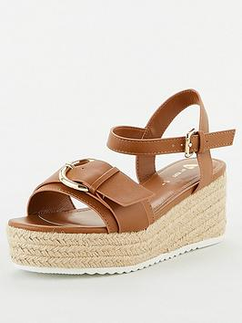 V by Very V By Very Darlene Wide Fit Buckle Wedge - Tan Picture