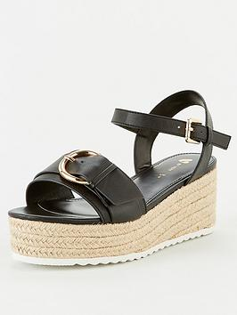 V by Very V By Very Darlene Wide Fit Buckle Wedge Sandal - Black Picture
