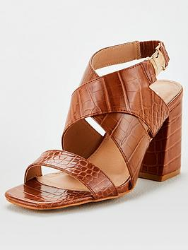 V by Very V By Very Hesla Wide Fit Heeled Hiking Sandals - Tan Picture