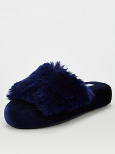 v-by-very-wilma-faux-fur-slider-slipper-navy