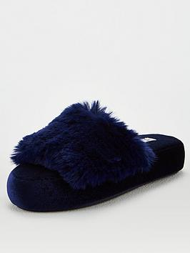 V by Very V By Very Wilma Faux Fur Slider Slipper - Navy Picture