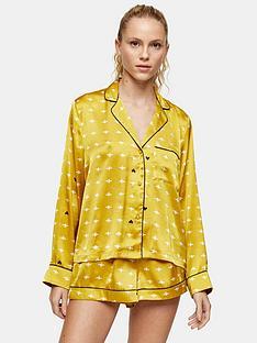 topshop-topshop-bee-print-satin-pyjama-shirt-gold