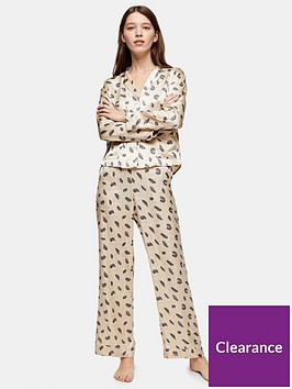 topshop-feather-print-satin-pyjama-trousers-cream
