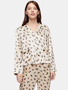 topshop-feather-print-satin-pyjama-shirt-cream