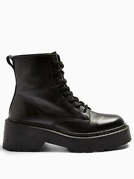 Topshop Topshop Austin Lace Up Boot - Black Picture