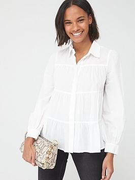 V by Very V By Very Tiered Cotton Blouse - White Picture