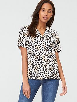 V by Very V By Very Short Sleeve Button Through Shirt - Animal Picture