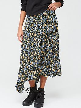 V by Very V By Very Pleated Asymmetric Skirt - Black/Floral Picture