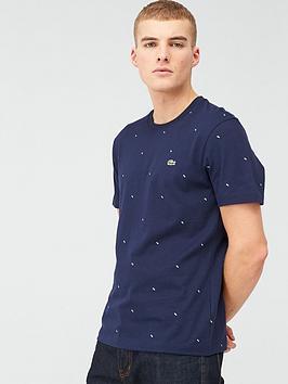 Lacoste Sportswear Lacoste Sportswear All Over Mini Print T-Shirt - Navy Picture