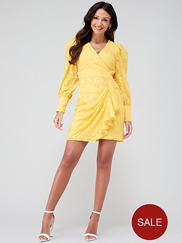michelle-keegan-burnout-ruffle-skirt-mini-dress-yellow