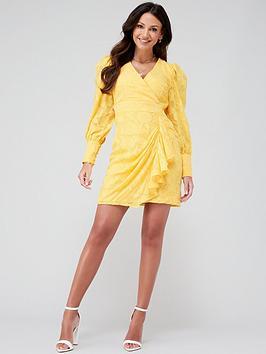 Michelle Keegan Michelle Keegan Burnout Ruffle Skirt Mini Dress - Yellow Picture