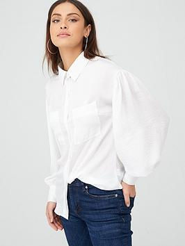 V by Very V By Very Formal Sleeve Detail Button Through Shirt - Ivory Picture