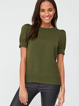v-by-very-button-ruched-short-sleeve-shell-top-khaki