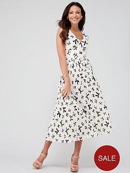 michelle-keegan-pleated-pinafore-midi-dress-bow-print