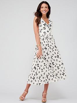 Michelle Keegan Michelle Keegan Pleated Pinafore Midi Dress - Bow Print Picture