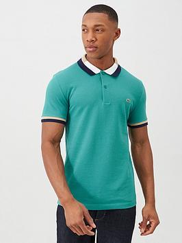 Lacoste Sportswear Lacoste Sportswear Contrast Collar Polo Shirt - Green Picture