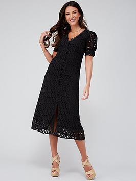 michelle-keegan-broiderie-midi-dress-black