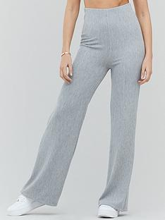 michelle-keegan-ribbed-jersey-trouser-grey-marl