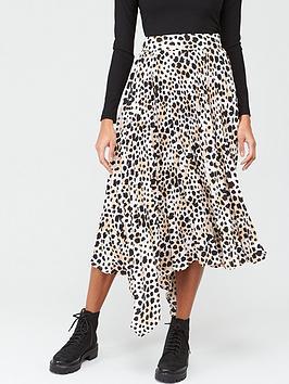 V by Very V By Very Pleated Asymmetric Skirt - Animal Picture