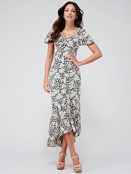Michelle Keegan Michelle Keegan Printed Satin Midi Dress - Animal Print Picture