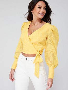 michelle-keegan-burnout-ruched-blouse-yellow
