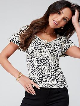 Michelle Keegan Michelle Keegan Printed Satin Milkmaid Blouse - Animal  ... Picture