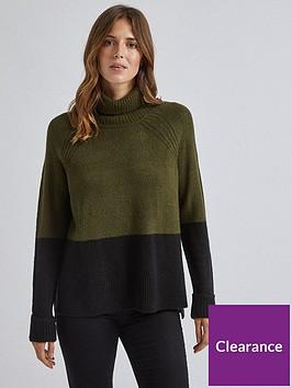 dorothy-perkins-dorothy-perkins-colour-block-cowl-neck-jumper-khaki