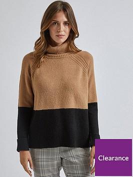 dorothy-perkins-dorothy-perkins-colour-block-cowl-neck-jumper-camel