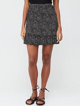 V by Very V By Very Frill Hem Jersey Mini Skirt - Spot Print Picture