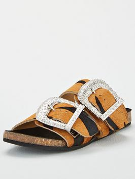 Warehouse Warehouse Double Buckle Footbed Sandal - Animal Picture