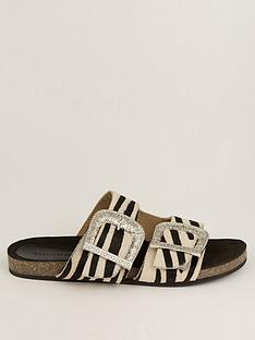 warehouse-double-buckle-footbed-sandalsnbsp--animal