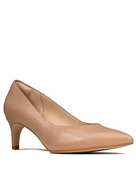 Clarks Laina55 Leather Mid Heel Court Shoe - Beige