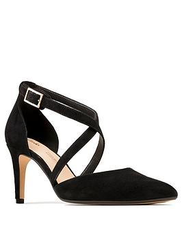 Clarks Clarks Laina85 Leather Cross Strap Heeled Shoe - Black Picture