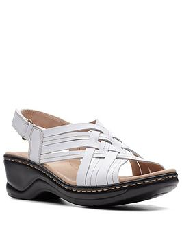 Clarks Clarks Lexi Carmen Leather Low Wedge Sandal - White Picture